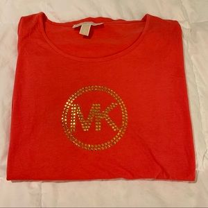 MICHAEL KORS Red-Orange Logo Top